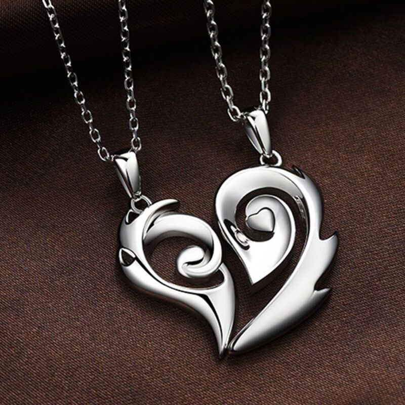 Half Heart Necklace for Couples His and Her Pendants Love Pu