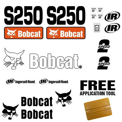 Bobcat S250 Skid Steer Set Vinyl Decal Sticker 18 Pc Set Free Decal Applicator