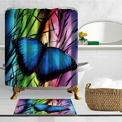 Blue butterfly Shower Curtain Flannel Bath Rug Mat Contour Hooks Bathroom Set - Butterfly Bathroom