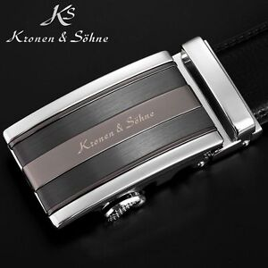 KS Mens Black Dress Adjustable Leather Belts With Auto Lock Buckle Up To 50 Inch