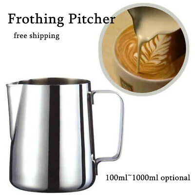 100~1000ml Milk Cup Frothing Pitcher Steam Stainless Steel E
