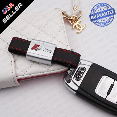 Car Logo Audi S-line Emblem Key Chain Metal Alloy Leather Gift Decoration Gift