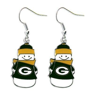 Green Bay Packers Football Team Logo NFL Snowman Charm Dangle Earrings Set
