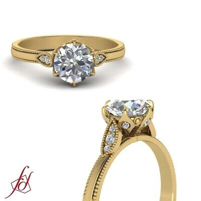 Vintage Style Engagement Ring With 0.65 Ct Round Cut Diamond 18K Yellow Gold GIA