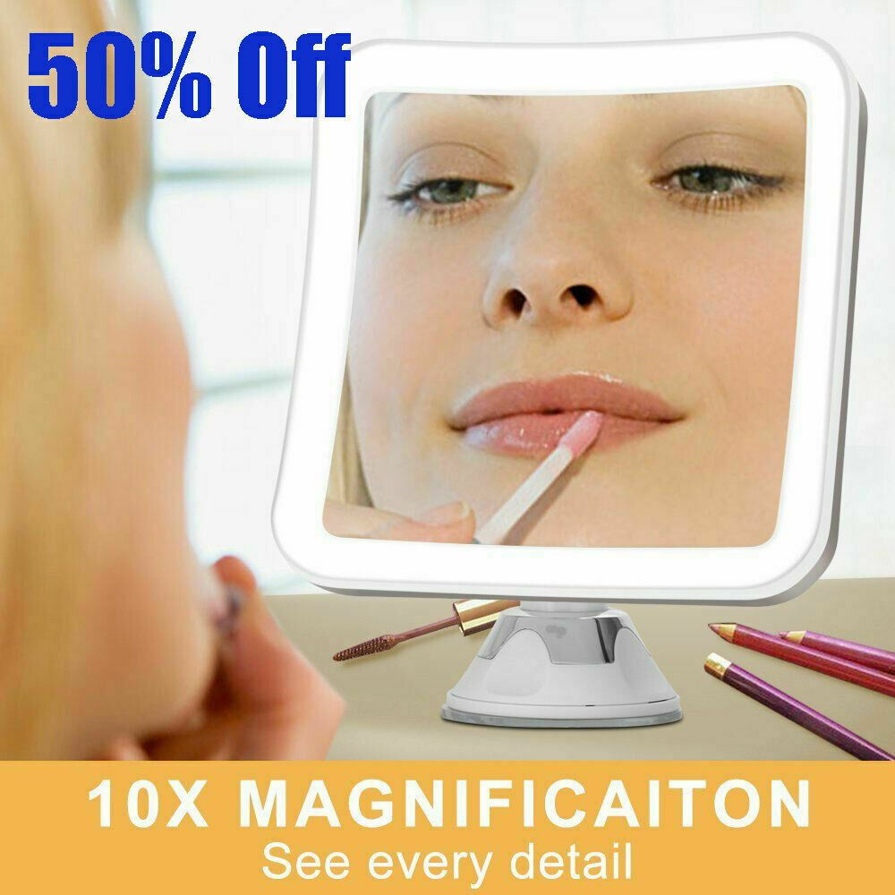 10X MAGNIFYING LIGHTED MAKEUP MIRROR Daylight LED Vanity Bat