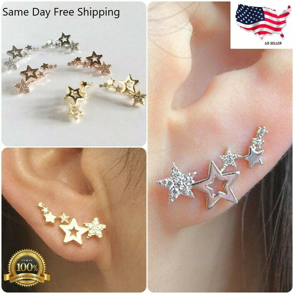 Jewellery - Elegant Star 925 Silver Stud Earrings Women White Sapphire Jewelry A Pair/set