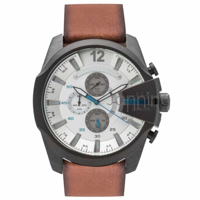 diesel mega chief dz4280 wrist watch for men diesel authentic watch dz4280 mega chief white dial chrono brown leather strap