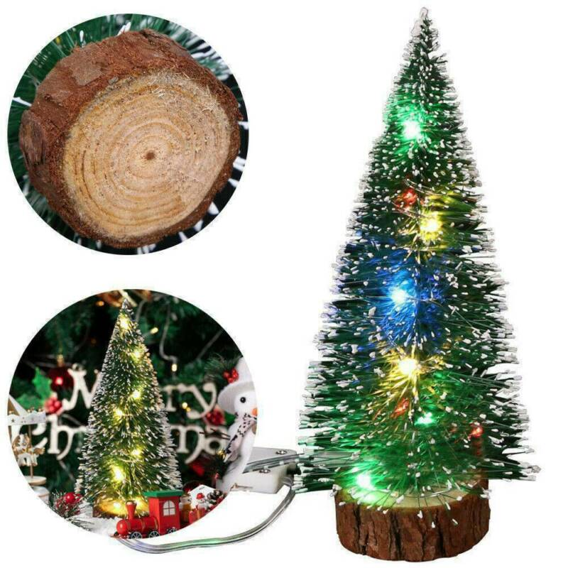 Mini Christmas Tree with Flash LED Lights Ornaments Desk Tab