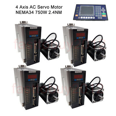 4axis 750w Ac Servo Motor 2.4nm 220v Driver Kit Nema34cnc Controller For Router