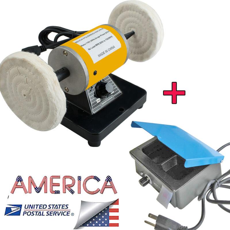 US Ship-Dental Lab Lathe Bench Jewelry Polisher +3-Well Analog Wax Melt  Heater