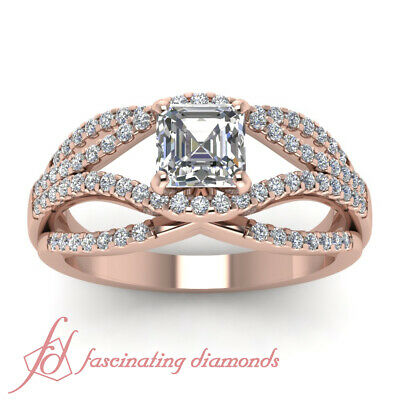 1.1 Ct Asscher Cut Diamond Split Shank Pave Engagement Ring In 14K Rose Gold GIA 1