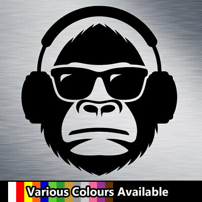 Funny Monkey Sunglasses Headphones Vinyl Decal Sticker for Car Van Window Laptop