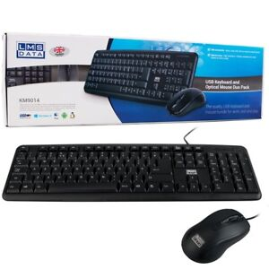 Dynamode KM9014 USB Deluxe Combo Office PC Computer Keyboard and Mouse UK QWERTY