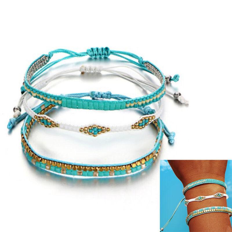 Wmen Boho Beads Weave Rope Friendship