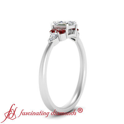 Princess Cut SI1 Diamond And Ruby Gemstone Tapered Edge Engagement Ring 0.90 Ctw 2