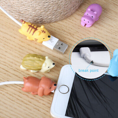 6 x Cartoon Animal Cable Bite Cute Phone Charger Protector Soft Cord -