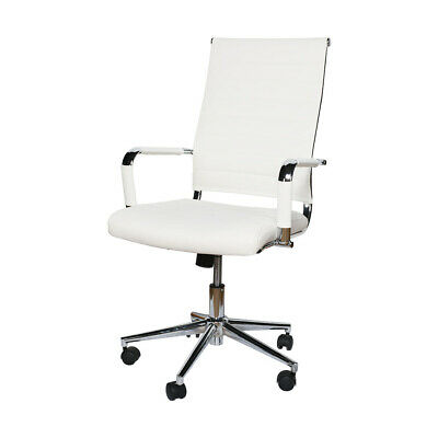Office Chair High Back Pu Computer Height Adjustable Rolling Swivel White