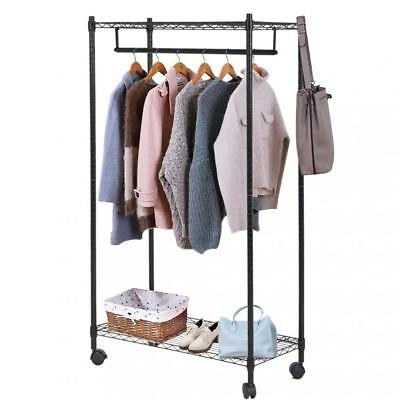 (Heavy Duty Clothes Rack Hanging Rod Garment Rack w/ Wheels Hanging Clothing Rack)