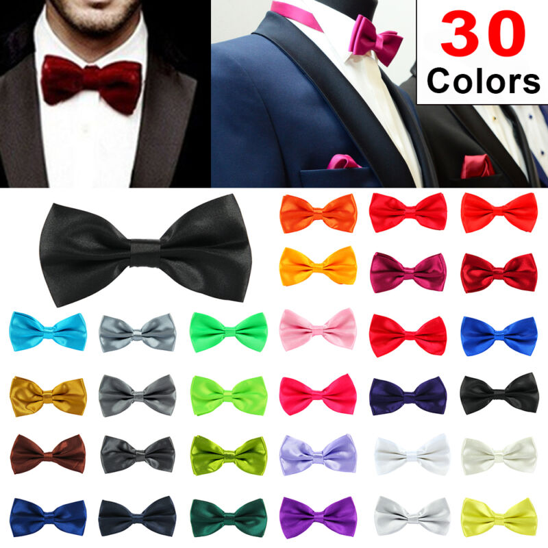 f61e24c39681 Details about 30Colour Satin Mens Pre Tied Plain Bow Tie Wedding Party Prom  Dress Necktie Ties