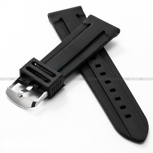New-24MM-Sport-Black-Silicone-Divers-Strap-Rubber-Band-For-Watches