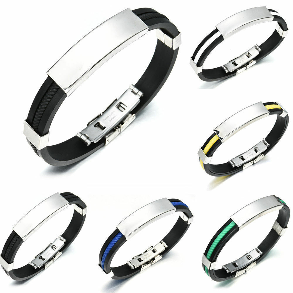 Stainless Steel Men Women/'s Punk Rubber Wristband Bangle Clasp Cuff Bracelet