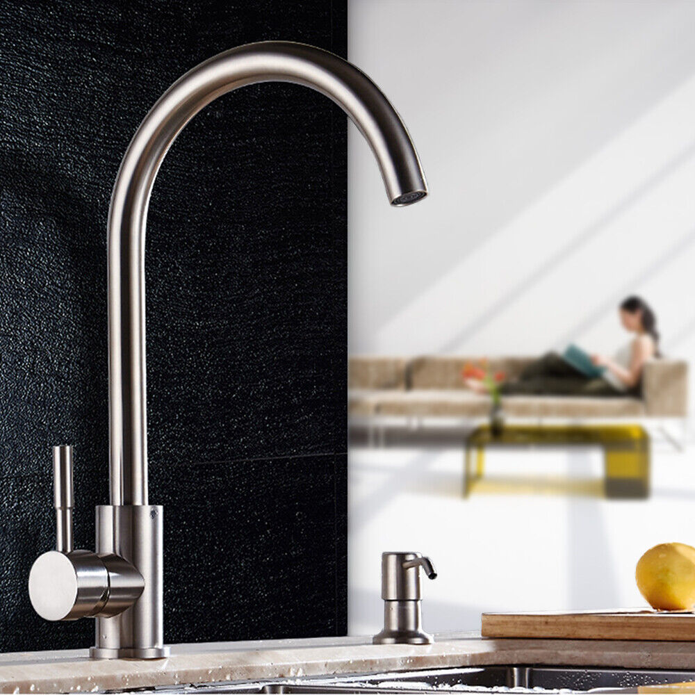 US Brushed Nickel Kitchen Faucet Swivel Spout Sink Single Hole Mixer ...