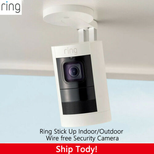Ring - Stick Up Indoor/Outdoor Wire free Security Camera - White 2nd Gen