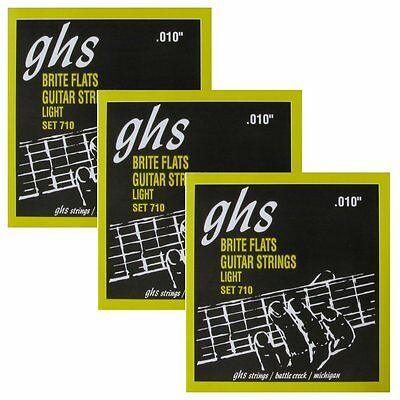 3 Sets of GHS 710 Brite Flats Flatwound Light Electric Guitar Strings 10-46 Flatwound Guitar Strings