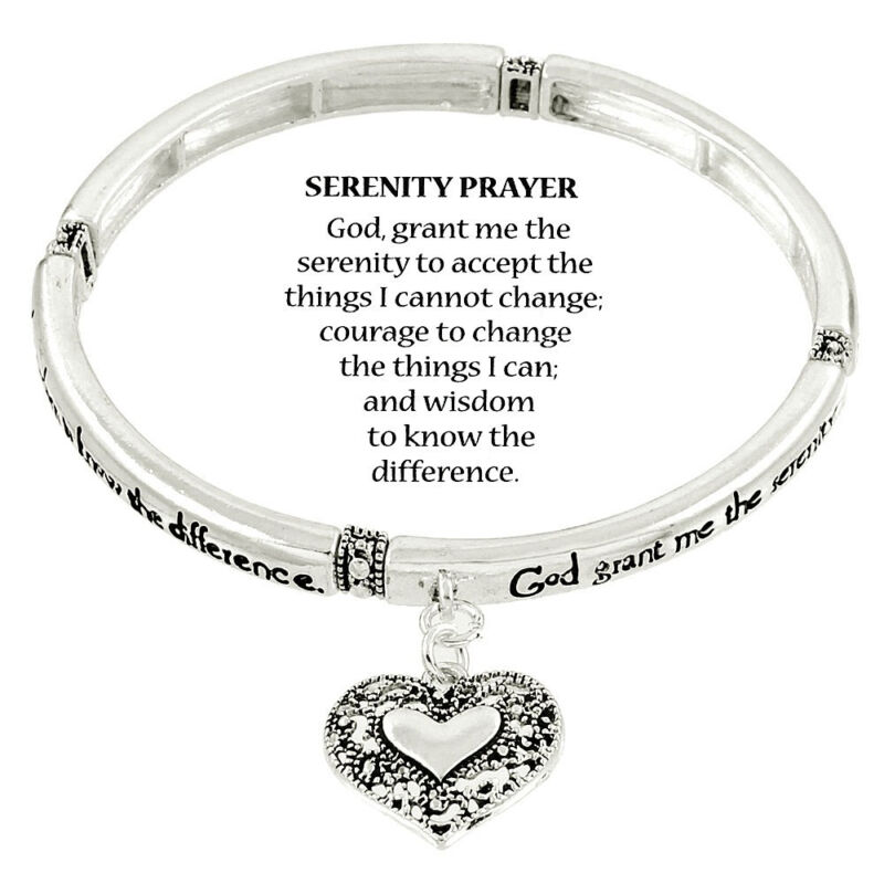 Serenity Prayer Message Bracelet Elastic Silvertone With Free Bookmark Included.