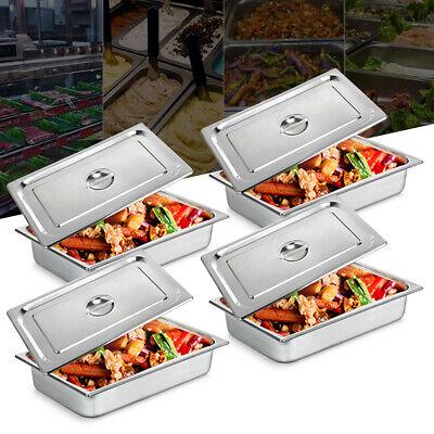 4-pan Full Size 4 Deep Steam Table Pans W Lids Catering Food Warmer Buffet Usa
