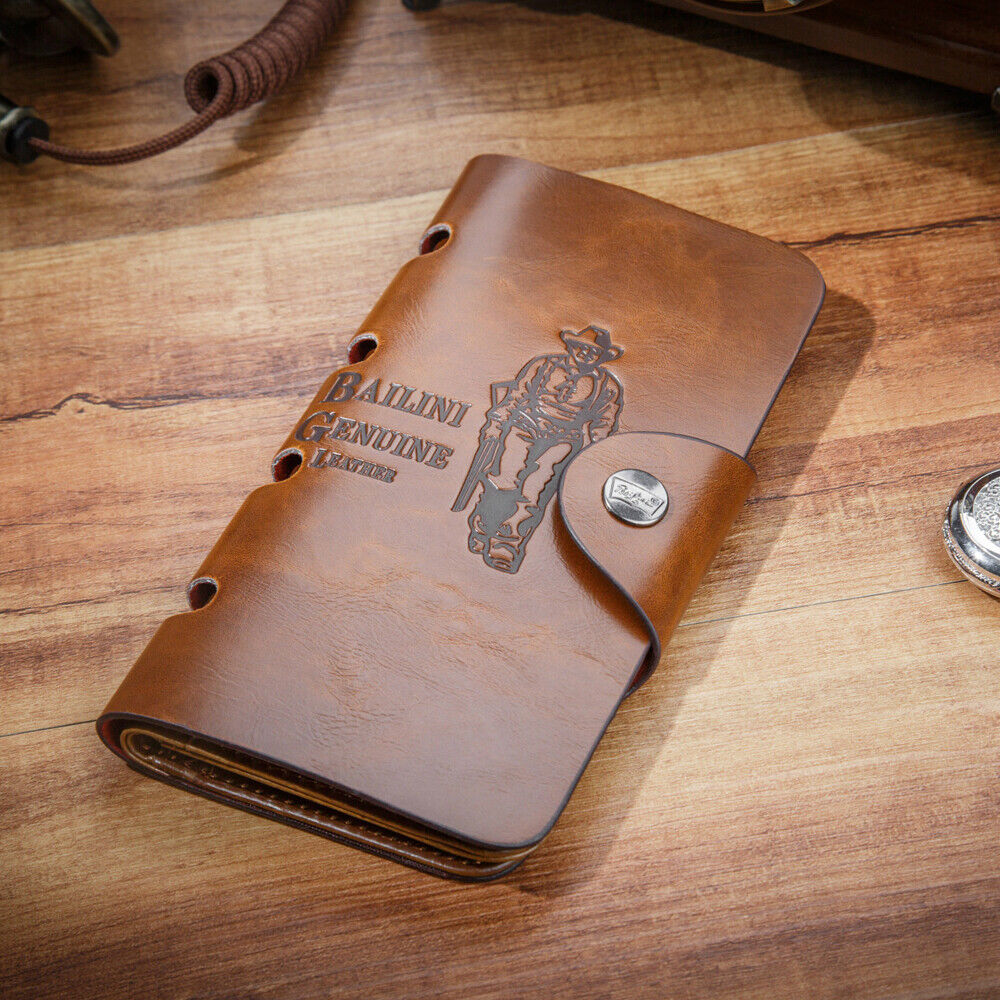 Retro Mens Leather Long Wallet Pockets ID Card Clutch Cente Bifold Purse US FAST Clothing, Shoes & Accessories