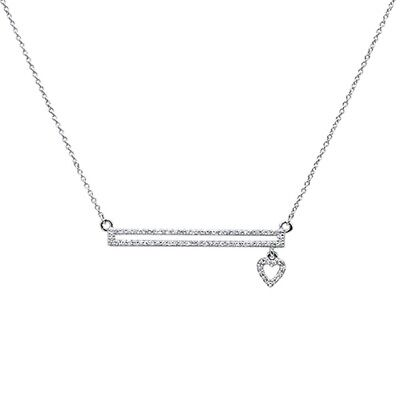 .18ct F SI 14k White Gold Diamond Bar with Dangling Heart Pendant Necklace 18