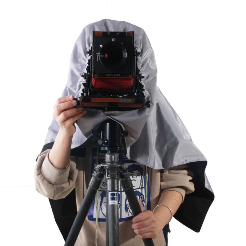 eTone Professional Dark Cloth Focusing Hood Silver Black For 4x5 Camera Wrapping