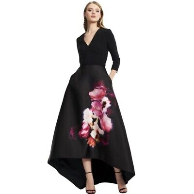 Theia Black Pink Floral V Neck High Low Crepe Gown Formal Dress Womens Size 12