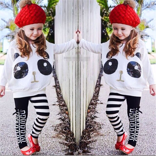 Kids Toddler Girls Panda Sequins Tops T-shirt+Striped Bow Pants Clothes Set
