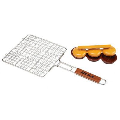 Burger Grilling Basket - Bull Stainless Steel Mini Burger Grilling Basket and Triple Patty Press Combo