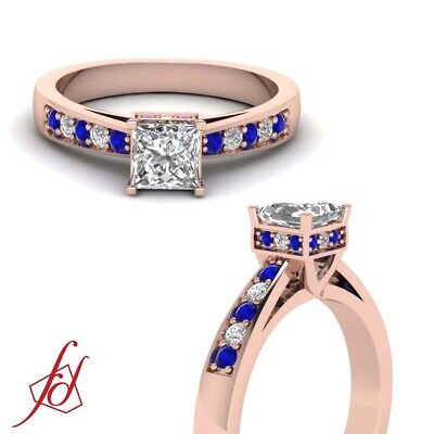 3/4 Carat Princess Cut Diamond And Blue Sapphire Engagement Rings For Women GIA