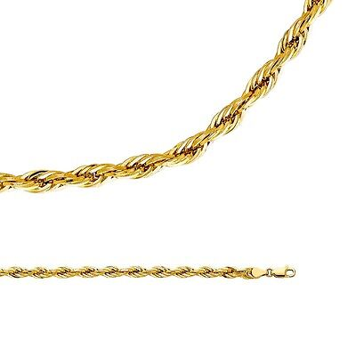 - Rope Necklace Solid 14k Yellow Gold Chain Silky Hollow Big Light , 5 mm