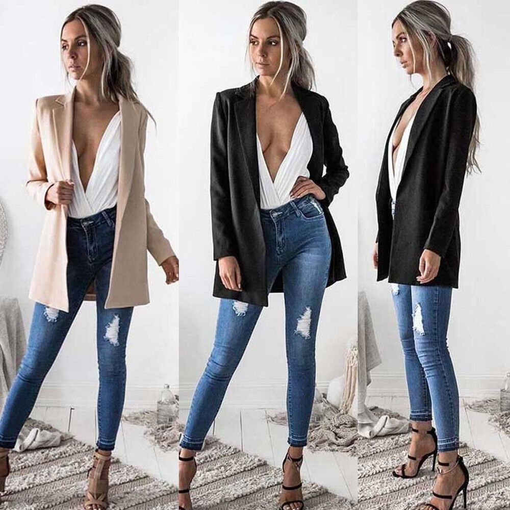 Fashion Women Long Sleeve Cardigan Casual Lapel Blazer Suit Jacket Coat Outwear