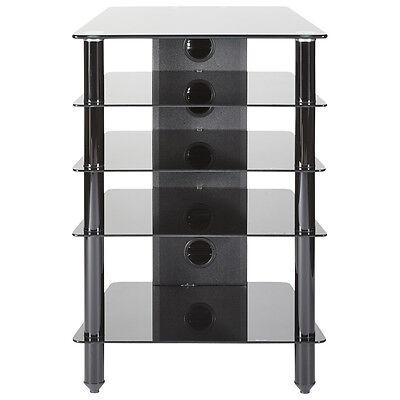 MMT Hi Fi stand rack 5 shelf cabinet black glass black legs extra deep 500mm