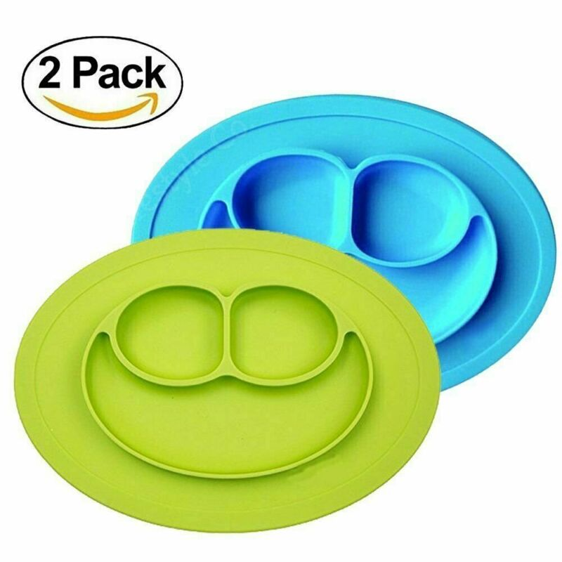 Baby Silicone Suction Placemat Plates, 2 Pack, (Green/Blue)