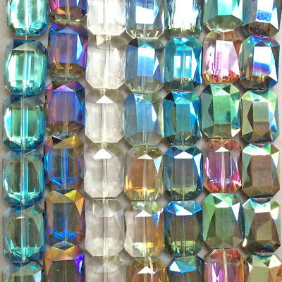 Blue Green Emerald Cut Rectangle 18x13mm Chinese Crystal Glass Beads Q2 Strands -