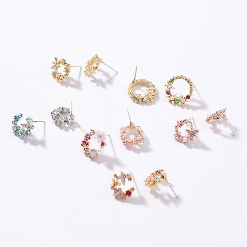 Fashion Circle Wreath Korean Trendy Small Ear Studs Jewelry