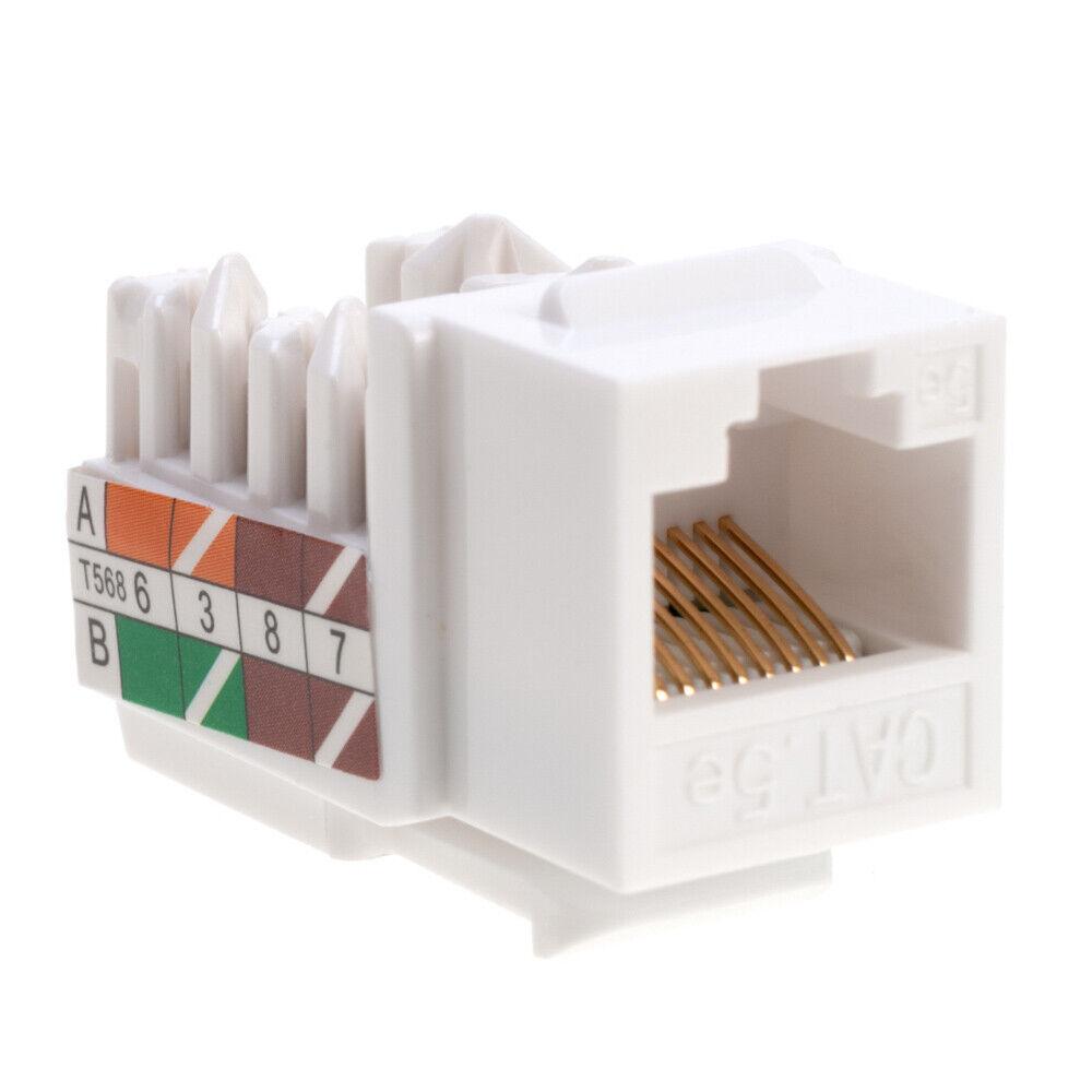 200 pack lot Keystone Jack Cat5e Network Ethernet 110 Punchdown 8P8C WHITE Cat5