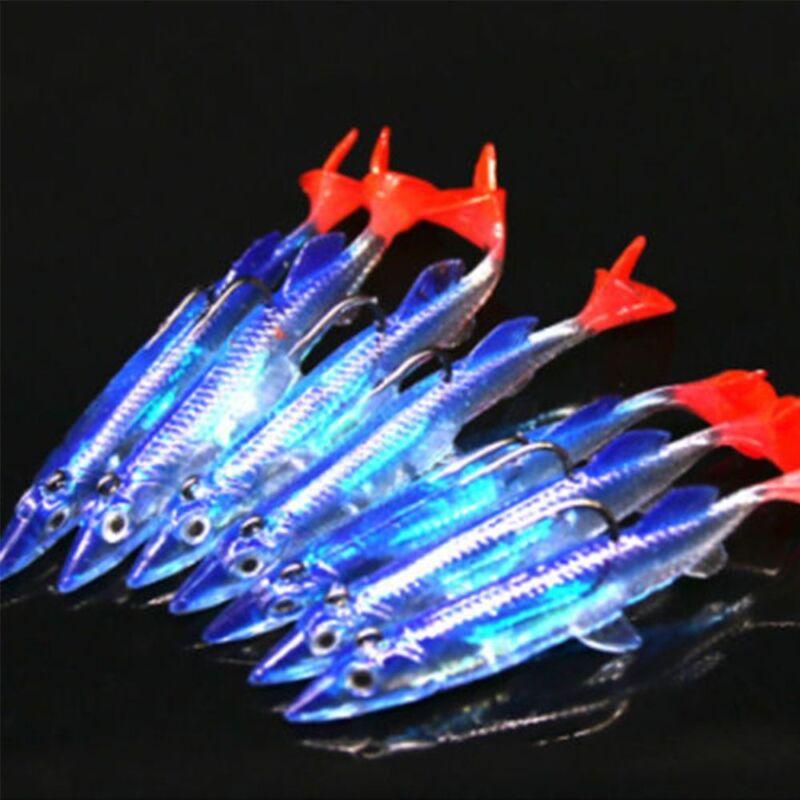 5pcs Fishing Lures Minnow Hard Luminous Crank Bait Night Fish Popper /&Hooks Carp