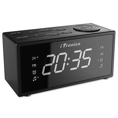 iTronics Digital AM/FM Dual Alarm Clock Radio with USB Charge Port, Snooze Sleep