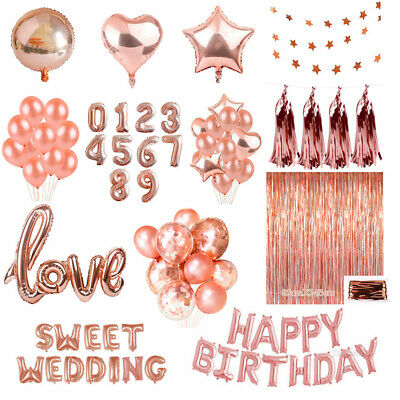 Gold Party Supplies (Rose Gold Series Foil Latex Balloon Set Helium Star Birthday Party Wedding)