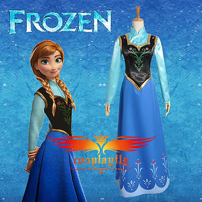 Disney Frozen Snow Queen Anna Adult Cosplay Costumes Dress+Shirt for Christmas