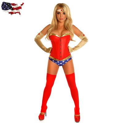 Wonder Woman Ladies Fancy Dress Dawn of Justice Superhero Movie Corset Costume