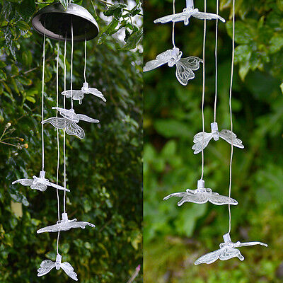 Solar Power LED Color Change Butterfly Wind Chimes Hanging lamp for Garden Home